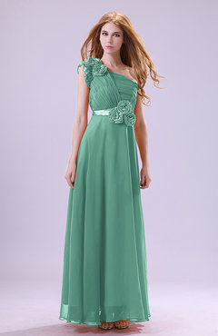 Mint Green Elegant Zipper Chiffon Floor Length Ruching Bridesmaid Dresses