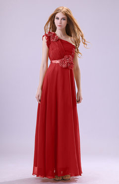 Red Elegant Zipper Chiffon Floor Length Ruching Bridesmaid Dresses