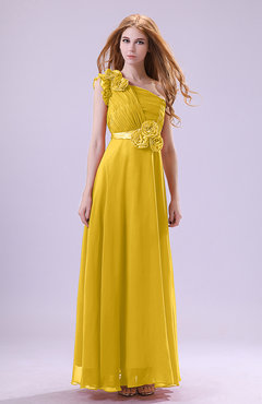 Yellow Elegant Zipper Chiffon Floor Length Ruching Bridesmaid Dresses