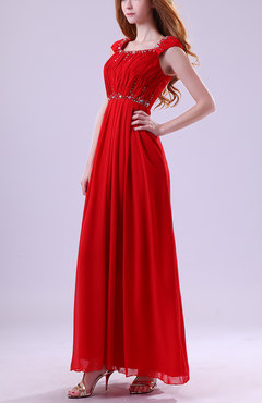 Red Modest Scoop Sleeveless Chiffon Ruching Homecoming Dresses