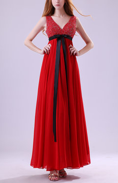 Red Elegant Zip up Chiffon Ankle Length Paillette Homecoming Dresses