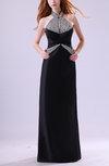 Glamorous Sheath High Neck Sleeveless Elastic Woven Satin Floor Length Wedding Guest Dresses