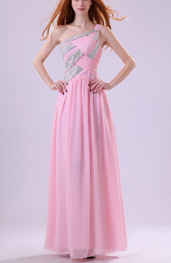 Pink Elegant Asymmetric Neckline Zip up Chiffon Floor Length Bridesmaid Dresses