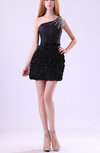 Cute One Shoulder Sleeveless Zip up Taffeta Sequin Little Black Dresses