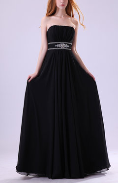 Black Simple Empire Zip up Chiffon Floor Length Ruching Evening Dresses