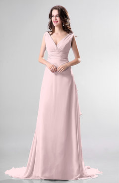 Blush Simple Church Sleeveless Backless Chiffon Chapel Train Bow Bridal Gowns