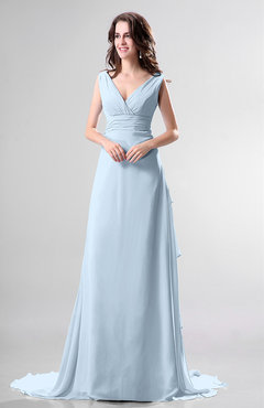 Ice Blue Simple Church Sleeveless Backless Chiffon Chapel Train Bow Bridal Gowns