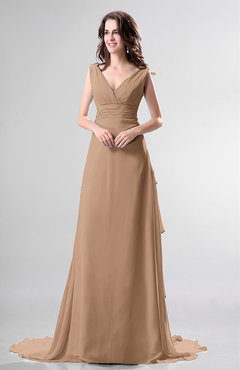 Light Brown Color Dresses Chapel Train - UWDress.com