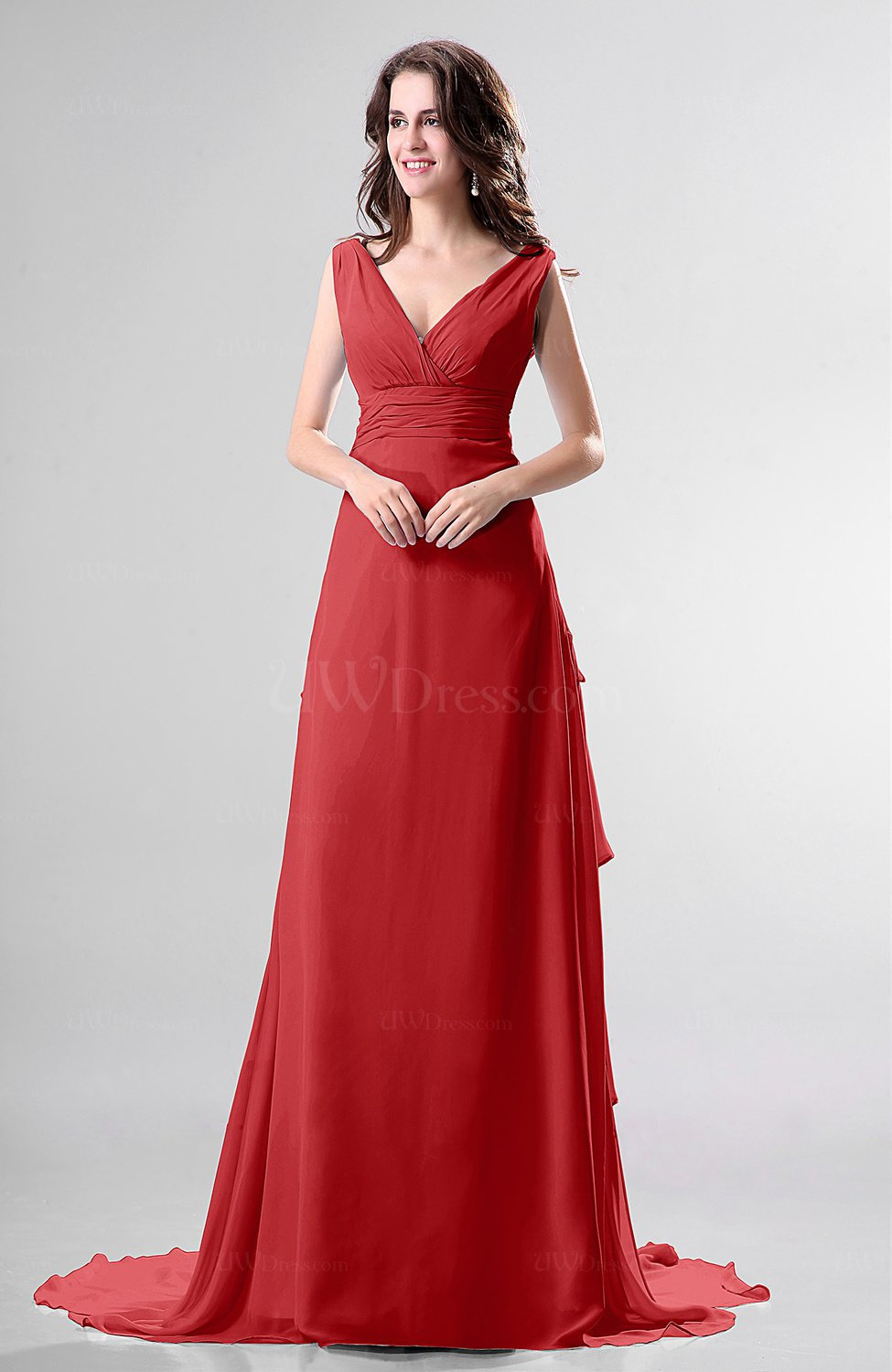 Red simple church sleeveless backless chiffon chapel train for Simple red wedding dresses