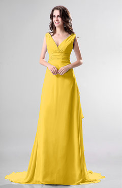 Yellow Simple Church Sleeveless Backless Chiffon Chapel Train Bow Bridal Gowns