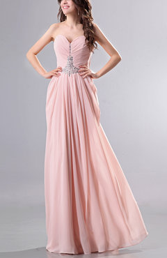 Blush Romantic Sweetheart Sleeveless Backless Chiffon Floor Length Prom Dresses