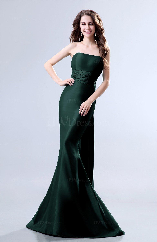 Dark Green Elegant Mermaid Sleeveless Backless Court Train Evening ...