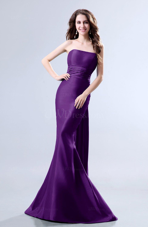 Dark Purple Elegant Mermaid Sleeveless Backless Court Train Evening ...