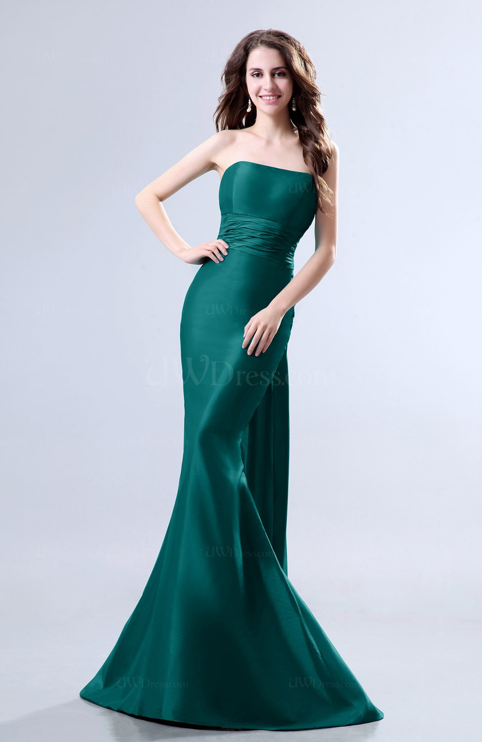 Emerald Green Elegant Mermaid Sleeveless Backless Court Train ...