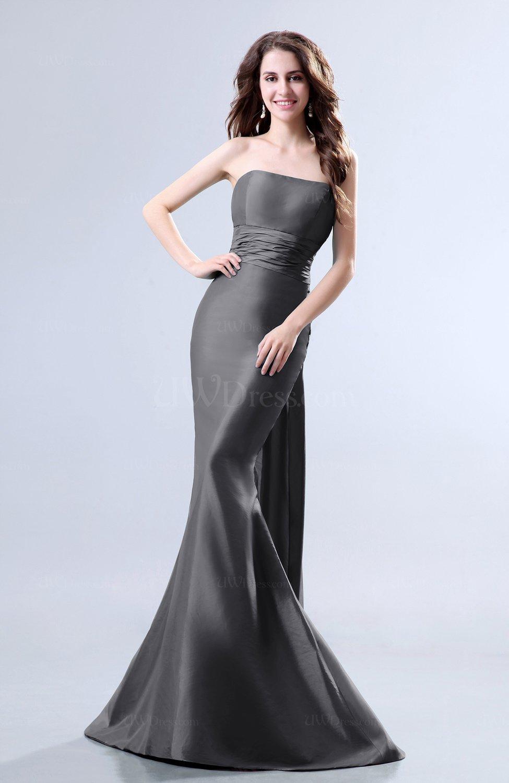 Grey Elegant Mermaid Sleeveless Backless Court Train Evening Dresses ...
