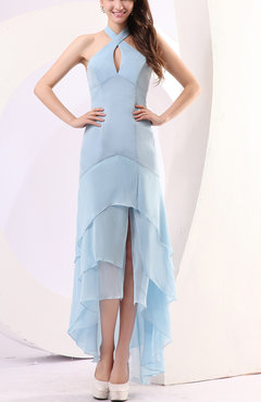 Ice Blue Plain Sheath Halter Chiffon Floor Length Party Dresses