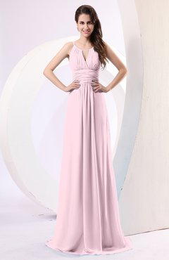 Blush Plain Column Scoop Zipper Chiffon Ruching Evening Dresses