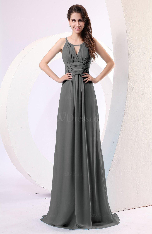 Grey Plain Column Scoop Zipper Chiffon Ruching Evening Dresses ...