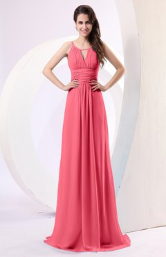 Guava Plain Column Scoop Zipper Chiffon Ruching Evening Dresses