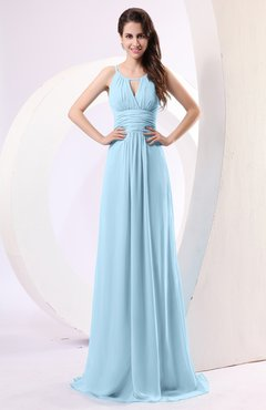 Ice Blue Plain Column Scoop Zipper Chiffon Ruching Evening Dresses
