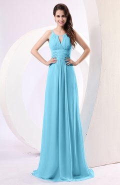 Light Blue Plain Column Scoop Zipper Chiffon Ruching Evening Dresses