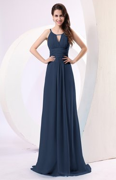 Navy Blue Plain Column Scoop Zipper Chiffon Ruching Evening Dresses
