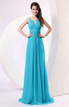 Turquoise Plain Column Scoop Zipper Chiffon Ruching Evening Dresses