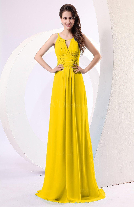 Yellow Plain Column Scoop Zipper Chiffon Ruching Evening Dresses ...
