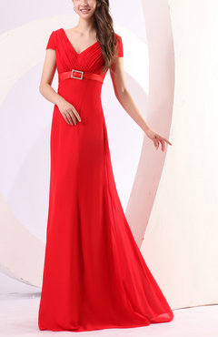 Red Plain Column Short Sleeve Sweep Train Sash Evening Dresses