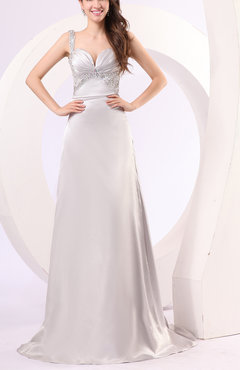 Silver Gorgeous Church Column Sleeveless Backless Brush Train Bridal Gowns