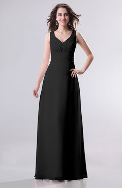Black Simple Empire Sleeveless Zip up Ruching Wedding Guest Dresses