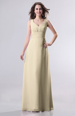 Champagne Simple Empire Sleeveless Zip Up Ruching Wedding Guest Dresses