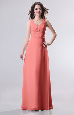 Coral Simple Empire Sleeveless Zip up Ruching Wedding Guest Dresses