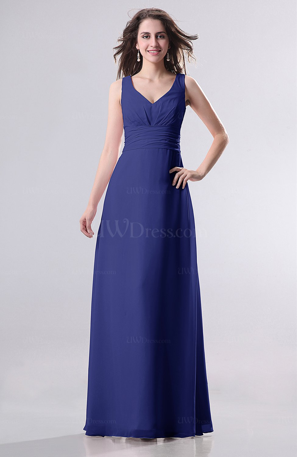 Electric Blue Wedding Guest Dresses : Electric blue simple empire sleeveless zip up ruching wedding guest