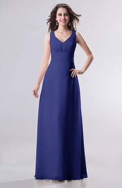 Electric Blue Simple Empire Sleeveless Zip up Ruching Wedding Guest Dresses