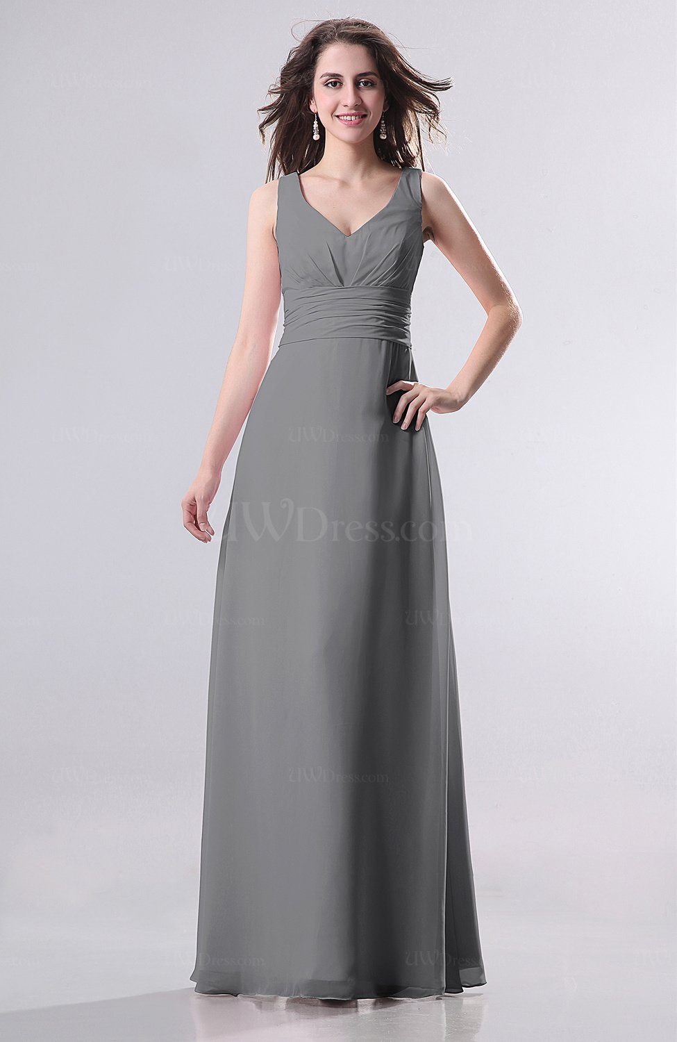 Grey simple empire sleeveless zip up ruching wedding guest for Grey dress wedding guest