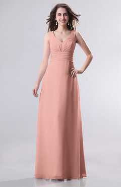 Peach Simple Empire Sleeveless Zip Up Ruching Wedding Guest Dresses
