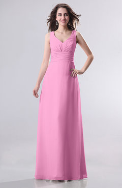 Pink Simple Empire Sleeveless Zip up Ruching Wedding Guest Dresses
