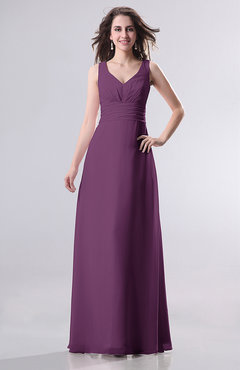 Raspberry Simple Empire Sleeveless Zip up Ruching Wedding Guest Dresses