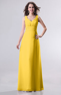 Yellow Simple Empire Sleeveless Zip up Ruching Wedding Guest Dresses