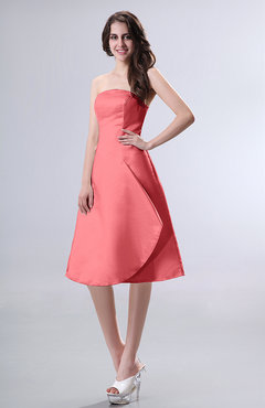 Coral Simple A-line Strapless Zipper Knee Length Draped Party Dresses