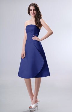 Electric Blue Simple A-line Strapless Zipper Knee Length Draped Party Dresses