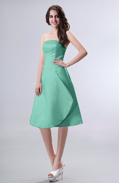 Mint Green Simple A-line Strapless Zipper Knee Length Draped Party Dresses