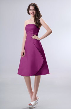 Raspberry Simple A-line Strapless Zipper Knee Length Draped Party Dresses