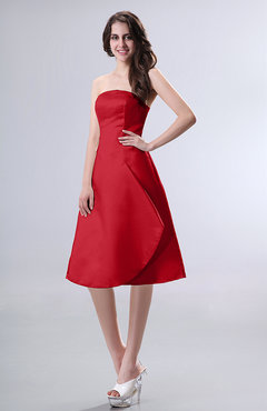 Red Simple A-line Strapless Zipper Knee Length Draped Party Dresses
