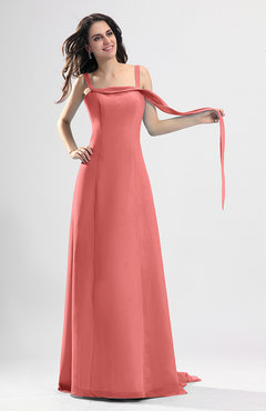Coral Simple Column Thick Straps Sleeveless Chiffon Pleated Wedding Guest Dresses