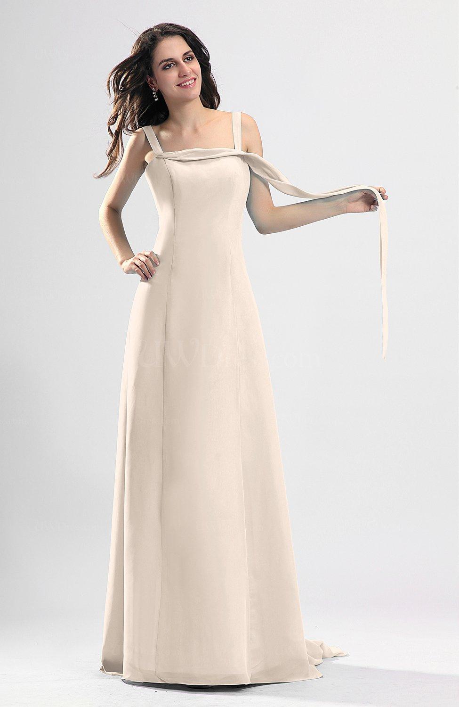 Cream simple column thick straps sleeveless chiffon for Simple cream wedding dresses