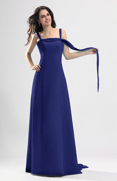 Electric Blue Simple Column Thick Straps Sleeveless Chiffon Pleated Wedding Guest Dresses