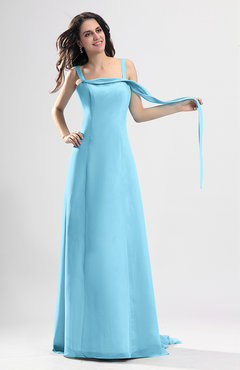 Light Blue Simple Column Thick Straps Sleeveless Chiffon Pleated Wedding Guest Dresses