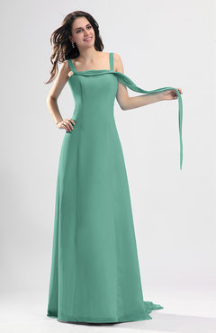 Mint Green Simple Column Thick Straps Sleeveless Chiffon Pleated Wedding Guest Dresses